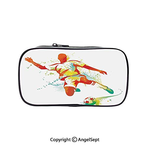 Pencil Holder with Handle Strap Handy Colored,Soccer Player Kicks The Ball Competitions Paint Splashes Speed Boots Art 5.1inches,Large Capacity Students ()
