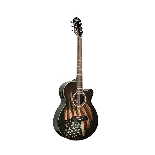 Oscar Schmidt OG10CE-Flag Cutaway Acoustic Electric Guitar with American Flag Graphic