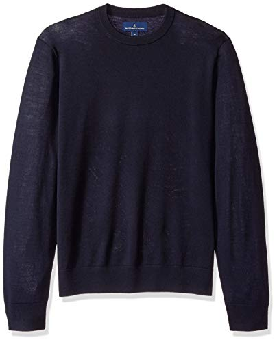 BUTTONED DOWN Men's Italian Merino Wool Lightweight Cashwool Crewneck Sweater, Midnight Navy, ()