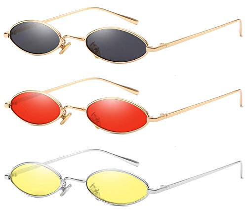 AOOFFIV Vintage Slender Oval Sunglasses Small Metal Frame Candy Colors (Women Oval Sunglasses For)
