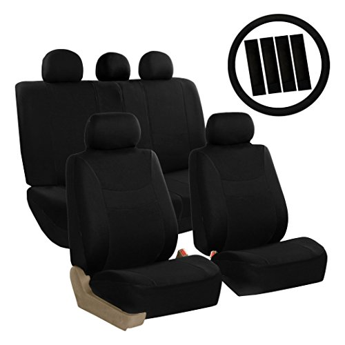 (FH Group FB030BLACK115-COMBO Seat Cover Combo Set with Steering Wheel Cover and Seat Belt Pad (Airbag Compatible and Split Bench Black) )