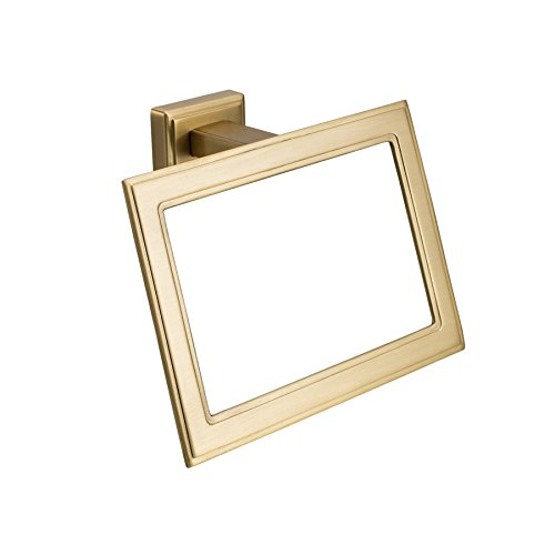 MAYKKE Carraway Towel Ring | 1920s Art Deco Inspired Rectangular Towel Holder for Bathroom & Kitchen | Brushed Brass, OYA1051303