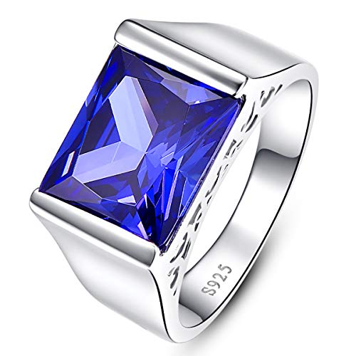 (BONLAVIE 925 Sterling Silver Wedding Band for Men Created Blue Tanzanite Vintage Solitaire Engagment Ring Size 14 )