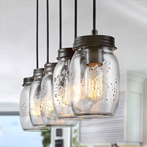 LNC Pendant Lighting for Kitchen Island,Wooden Farmhouse Chandelier, Glass Mason Jar Hanging Lamp A02983, Brown (Stellar Ceiling Lamp)