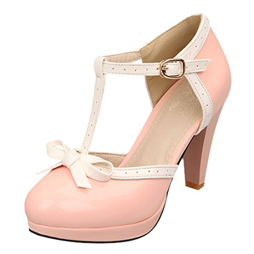 YE Women's High Heels Platform Patent Leather T-Strap Pumps with Bows Court Shoes Pink