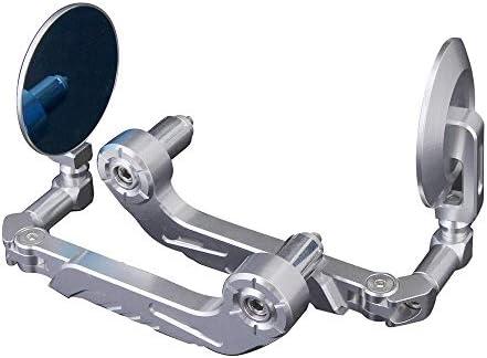 バイク ミラー CNCアルミ22ミリメートル7/8インチHMotorcycleサイドバーエンドMirrorsRearビューandlebarレバーガードプロテクター - シルバー (Color : Silver, Size : 160mm)