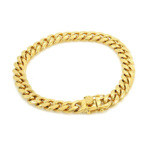 Solid 14k Yellow Gold Finish Stainless Steel 8mm Thick Miami Cuban Link Chain Box Clasp Lock (Bracelet 9'') ()