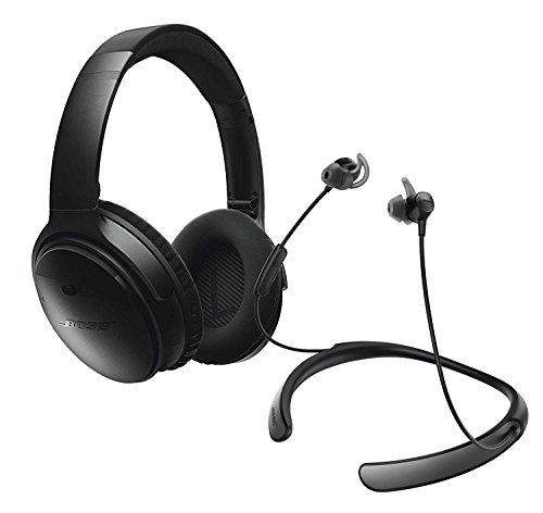 Bose QuietComfort 35 Noise Cancelling Over-ear (Black) & QuietControl 30 (Black) In-ear Active Noise Cancelling Wireless Bluetooth Headphone Bundle