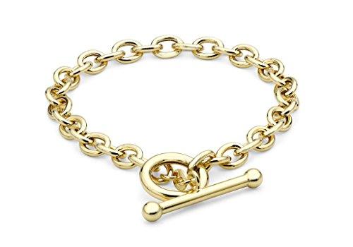 """Or jaune 9Ct mailles jaseron ovale bracelet en T 18cm/7"""""""