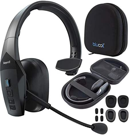 BlueParrott B550-XT Noise Canceling Bluetooth Headset300-FT Wireless Range for iOS 안드로이드 Windows and Mac BundleBlucoil Headphones Carrying Case and Replacement Ear Pads