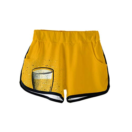 Togethor Casual Shorts Pants Ladies' 3D Beer Festival Printing German Dress Costumes for Bavarian Oktoberfest Carnival Yellow