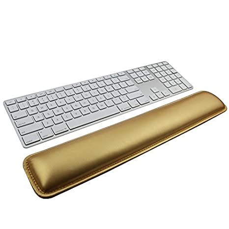 Wrist Rests, Keyboard Wrist Rest Pad, Gold PU Leather Palm Support Wrist Pad Wrist Cushion for Laptops/Notebooks/MacBooks//PC/Computer SuoSuo