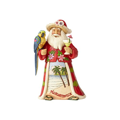 Enesco Jim Shore Heartwood Creek Margaritaville Santa with Parrot Stone Resin Figurine, - Shore Santa Jim