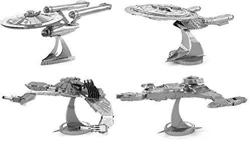 Metal Earth 3D Model Kits - Star Trek Set of 4 - USS Enterprise NCC-1701D - Klingon Vor'Cha Class - Klingon Bird-of-Prey - USS Enterprise NCC-1701