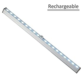 LightBiz Under Cabinet Led Lighting Rechargeable Wireless Motion Lights with 18 LEDs For Closet, Pantry, Kitchen, Hallway