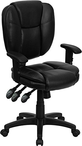 Aberdeen Mid-Back Black Leather Ergonomic Swivel Home/Office Task Chair w/Arms