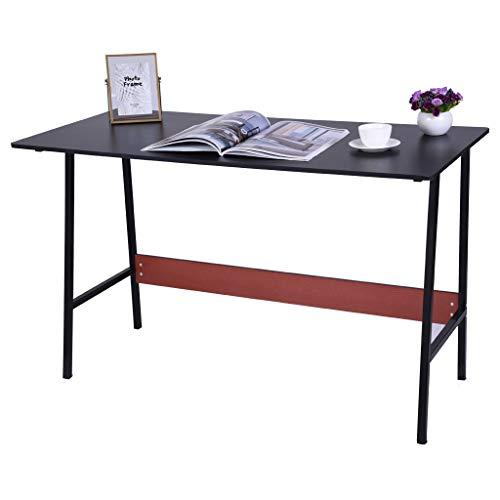 Anti-Slip Desktop Computer Desk, Ship from US 47.3×21.7Inch Large Modern Simple Office Desk Work Table Study Writing Desk, Office Desk Workstation for Home (♥ Black)