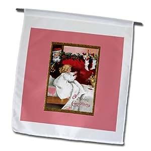 FL _ 153415BLN Vintage diseños de Navidad–feliz Navidad con diseño de niña en camisón Reaching for Her calcetín navideño con Papá Noel relojes–banderas