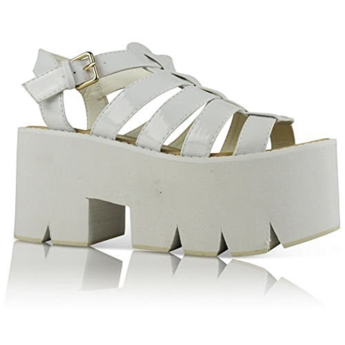 LADIES WOMENS CLEATED SOLE HIGH HEEL CHUNKY PLATFORM SANDALS SHOES SIZE 3-8 White Patent