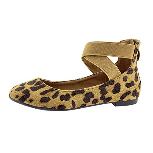 Girl Kids Dress Ballet Flat Elastic Ankle Strap Casual Flats Stretchy Strap Slip on Ballerina Shoes Leopard (Ballerina Leopard)