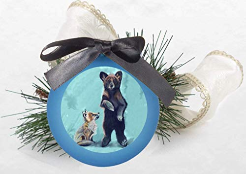 - Baby Fox and Baby Bear Christmas Tree Ornament Alpine Blue with Bow