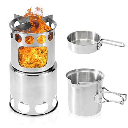 Portable Camping Stove, Kekilo Backpacking Stove 3 in 1 Wood Burning Stove Kit Lightweight Double Wall Stainless Steel Wood Stove Camping with Mesh Bag for Camping BBQ Picnic Hiking