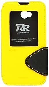 JUJEO Roar Korea Hollowed Window Diary Leather Skin Case for LG L70 D320/Dual SIM D325 - Retail Packaging - Yellow