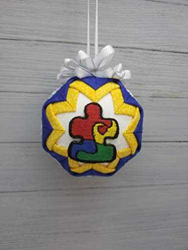 Autism Awareness Multi-Color Puzzle Piece Quilted Fabric Christmas Ornament, Yellow & Blue Accents ()