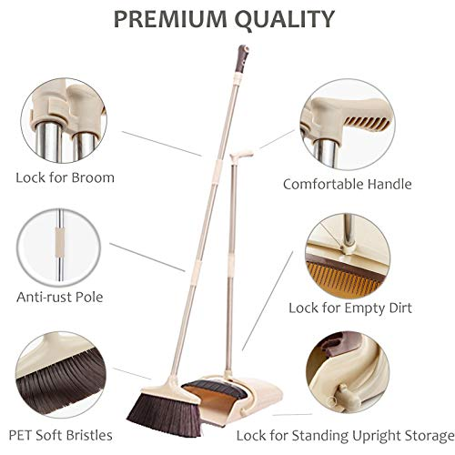 Broom and Dustpan Set, 48 inch Extendable Broom Standing Upright - Wind Proof - Foldable Sweep Set with Soft Bristles & Rubber Edge & Dust Pan with Teeth, Perfect for Kitchen, Garden, Office, etc. by SerBion (Image #2)'