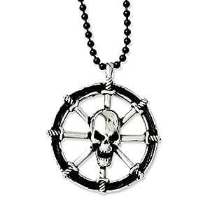 JewelryWeb Cilindro de acero inoxidable de pared con marco envejecido con lámpara de techo de calavera de piratas - 76,2 cm