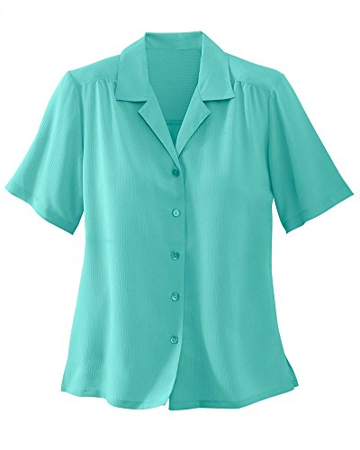 (Donnkenny Solid Camp Shirt, Turquoise Water, 1X)