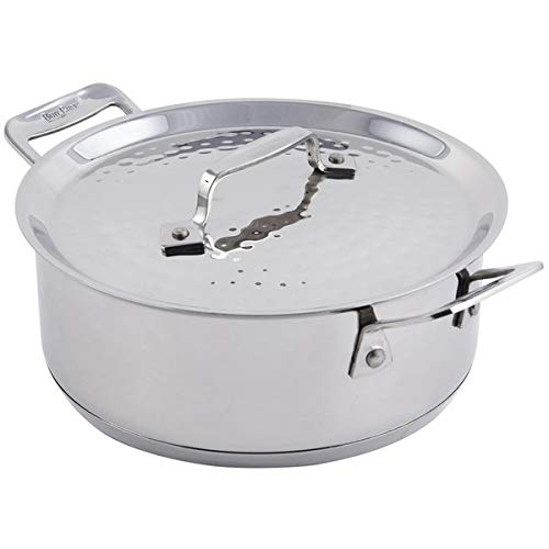 Bon Chef 60000HF Cucina 3 Qt. Hammered Finish Stainless Steel Casserole with Lid ()