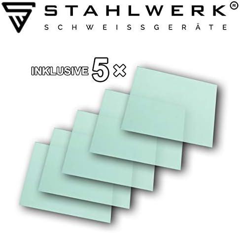 Casco de soldadura autom/ático clase /óptica 1//1//1, campo de visi/ón extragrande, filtro de 7 a/ños, incluye 5 discos de repuesto y funda STAHLWERK ST-950XW
