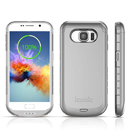 "S6 Battery Case, ICONIC 4200mAh S6 Charger Case Portable External Charging Battery Pack for Samsung Galaxy S6 (5.1"" Silver)"