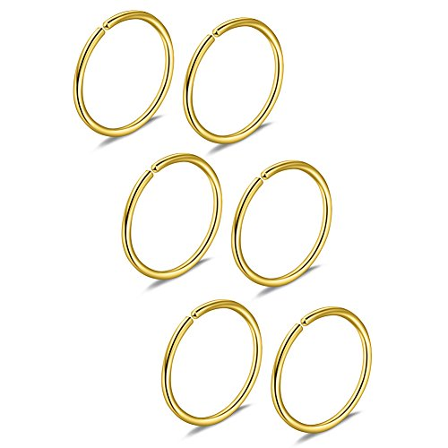 Ruifan 3prs Non Pierced Stainless Steel Clip on Closure Round Ring Fake Nose Lip Helix Cartilage Tragus Ear Hoop 20G 8mm Gold Plated ()