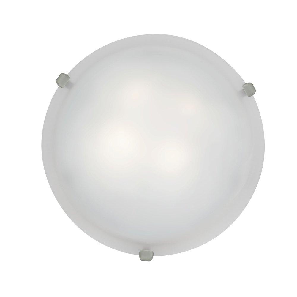 Mona - 16''dia Flush Mount - Brushed Steel Finish - White Glass Shade
