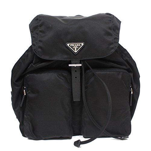 (Prada Tessuto Zainetto Nylon and Leather Backpack 1BZ005, Black/Nero)