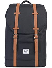 Herschel Retreat Mid-Volume Backpack-Black/Tan Synthetic Leather