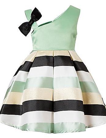 089b424d42 RENQINGLIN Girls Daily Striped Color Block Dress