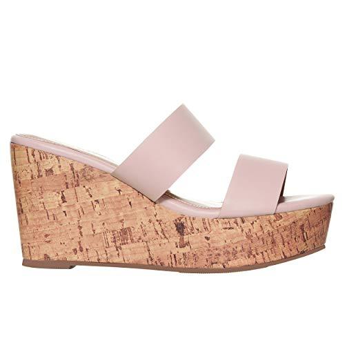 Rohb by Joyce Azria Casablanca High Heel Platform Wedge Slip On Sandal (Nude) Size - Women Designed Sandals Summer
