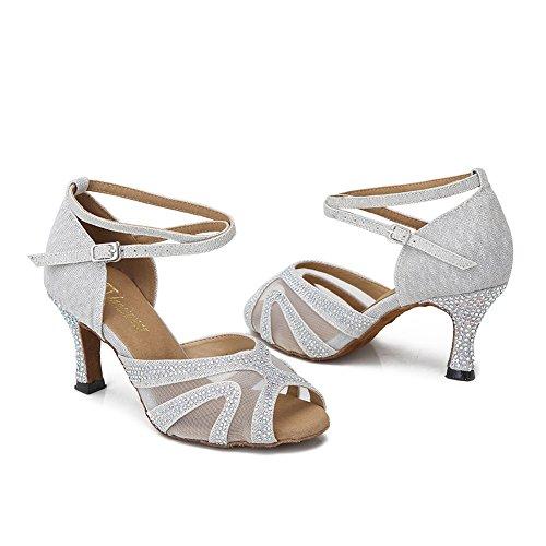 TTdancewear Strass Ballsaal Tanzschuhe Frauen Latin Salsa Bachata Performance Tanzschuhe Wildleder Sohle Silber-3inch Heels