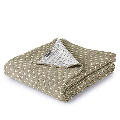 (Dawson Star Three Layers Lightweight 100% Soft Washed Cotton Gauzy Blanket (King, Taupe))