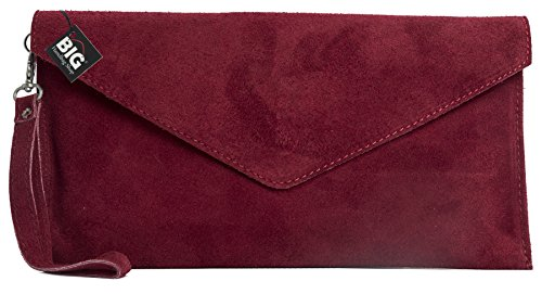 Leather Lining Bag Cotton Clearance Evening LEAH Red Z Deep LIATALIA Envelope Italian Clutch with Suede qxw44zEFf