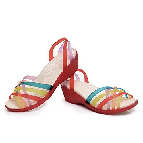 Enllerviid Mujer Open Toe Strappy Jelly Wedges Sandals Colorful Hollow Out Summer Zapatos Red