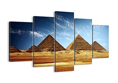 Vintage Painting 5 piece canvas Ancient Egypt Pyramid Wall Art,HD Prints Egyptian Pyramids Pictures Retro Giclee Artwork for Living Room Home Decor Wooden Framed Stretched Ready to Hang(60''Wx40''H)