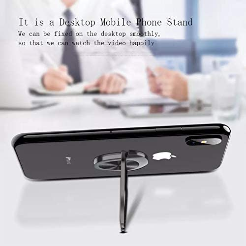 Multipurpose Mobile Phone Bracket Holder,EKUZI Ring Holder Finger Kickstand Black 360/°Rotation Metal Ring Grip for Car Mount Compatible with All Smartphone