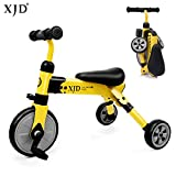 XJD 2 In 1 Baby Trike Toddlers Tricycle Lightweight and Folding For Boys or Girls Ages 18 Months and up (yellow)