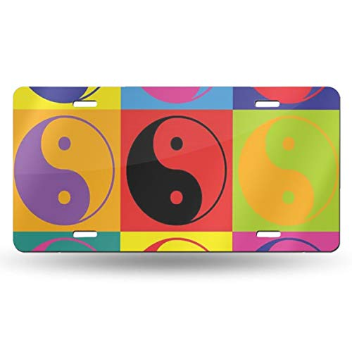 Charm Trend Ying Yang License Plate, High Gloss Aluminum Novelty Plate Tags, 5.9 L X 11.8 W Inches