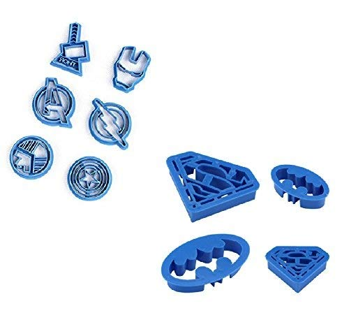 Cookie Creations Superman, Batman, Thor, Iron Man, The Flash, Captain America, Shield, Avengers Superhero Cookie Stamp Fondant Cutter Set (10 pack) Kitchen Toyz