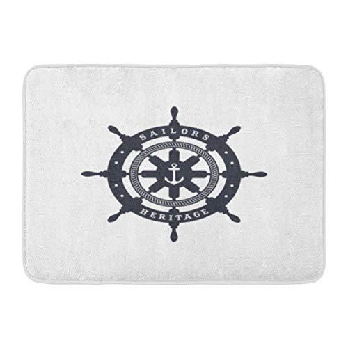 Rug Gold Antique Rectangle (Emvency Bath Mat Wheel Navy Badge Anchor Sailor Nautical Symbol Ship Antique Bathroom Decor Rug 16